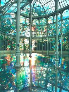 via Architecture Kimsooja's Room of Rainbows in Crystal Palace Buen Retiro Park, Madrid Spain Beautiful Architecture, Beautiful Buildings, Architecture Design, Beautiful Places, Amazing Places, Victorian Architecture, Peaceful Places, Amazing Things, Wonderful Places