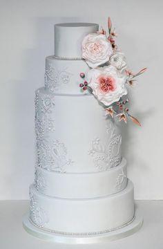 Blush & pale grey wedding cake - Cake by Happyhills Cakes