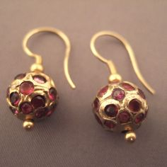 Earrings ~ Afghanistan | 18ct gold and rubies.