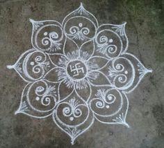 Kolam 20151214 Free Hand Rangoli Design, Rangoli Border Designs, Small Rangoli Design, Beautiful Rangoli Designs, Mandala Design, Rangoli Borders, Lotus Rangoli, Kolam Rangoli, Flower Rangoli
