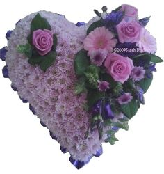 Pink and purple based heart - #floral #flowers #moonstones #ltd #fareham #florist #sympathy #tribute #heart