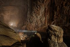 """A half-mile block of 40-story buildings could fit inside this lit stretch of Hang Son Doong, which may be the world's biggest subterranean passage."""