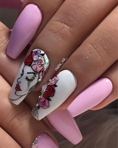 """Girl on the Nails"" – 200 ideas of stylish femininity and flexible body lines! Best Acrylic Nails, Summer Acrylic Nails, Acrylic Nail Designs, Bling Nails, Swag Nails, Art Nails, Nail Drawing, Nailart, Nail Art Designs Videos"