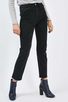 MOTO Washed Black Raw Hem Straight Leg Jeans - Jeans - Clothing - Topshop Europe