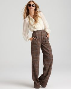 High waisted trousers with creme blouse