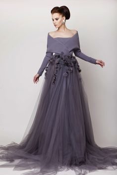 Azzi & Osta Couture SS 2015, Gray Silk Crepe and Tulle Long Dress with Organza Flowers