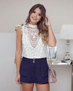 {Saturday } Look @melovemodas Short saia + Blusa de renda