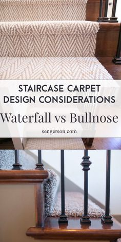 Whenyou are adding new carpet over your staircase, here are a few installation tips you may want to consider. The way that the carpet is tucked on your staircase will provide a different design aesthetic depending on your chosen installation process! Staircase Wall Decor, Carpet Staircase, Staircase Runner, House Staircase, Staircase Makeover, Staircase Design, Staircase Walls, Hallway Carpet Runners, Cheap Carpet Runners