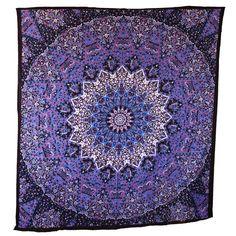 Hippie Purple Blue Tapestry Mandala Bohemian Bedspread Throw Wall