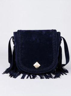 Blue Tassel Suede Shoulder Bag