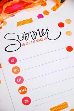Cute and simple Summer Bucket List