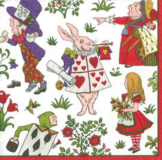 Caspari Alice in a Winter Wonderland white Lewis Carroll Storybook Theme Printed 3-Ply Paper Cocktail Beverage Napkins Wholesale 13290C