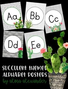 These posters are perfect for a succulent or cactus themed classroom!  They're color ink friendly since they're mostly black and white.  Check out the other coordinating products in my store!