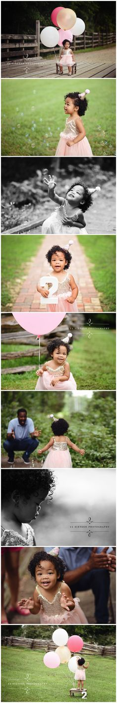11 sixteen photography, 2 year old, two year old, photoshoot ideas, outdoor, rustic, giant balloons, balloons, pink and gold, party hat, bubbles, bench, bridge, girl birthday, professional, studio, photography, photographer, virginia, richmond, rva, kids