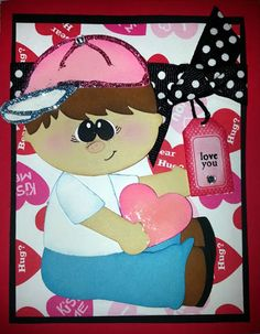 boy, cricut, silhouette, cut, card, paper, die cut, love, valentines day, tag, paper piecing, ribbon, bow, glitter