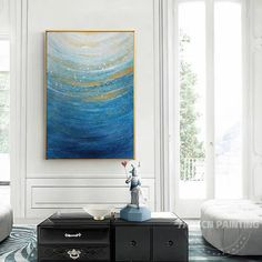 Hand painted blue art modern abstract frame painting acrylic gold paintings on canvas original sea wall art large Ocean painting Large Painting, Painting Frames, Painting Abstract, Large Wall Art, Canvas Wall Art, Colorful Clouds, Hand Painted Walls, Wall Art Pictures, Blue Art