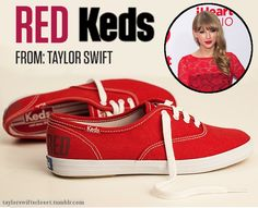 I WANT THESE SHOES!!!!!!!!!! Taylor Swift's joining the fashion community!  She's teamed up with the shoe brand Keds in a three-year deal to promote a new direction the brand is taking.  These limited edition RED Keds will be available to purchase the same day as her album release (Oct. 22nd) for $50.  You'll be able to buy them at keds.com, taylorswift.com, nordstrom.com, and journeys.com.