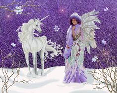 First Snowfall. unicorn fairy snow snow by DelightsFantasyArt