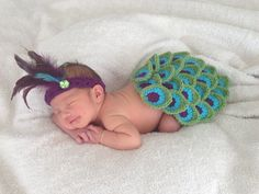 Peacock Newborn Baby Girl Cape and Headband by shorethingdesigns