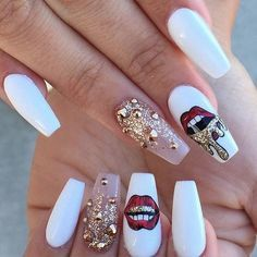 long white red lips gold nail art design