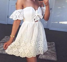 Rayanna Lace Detailed Off-the-Shoulder Dress Pretty Dresses, Beautiful Dresses, Fashion Pants, Fashion Dresses, Summer Fashion Trends, Fashion Ideas, Little White Dresses, Beach Dresses, Classy Dress