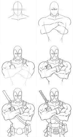 How to draw deadpool from marvel comics. this video tutorial shows you how to draw a character from marvel, deadpool. Drawing Superheroes, Drawing Cartoon Characters, Marvel Drawings, Character Drawing, Cartoon Drawings, Easy Drawings, Drawing Sketches, Pencil Drawings, Drawing Drawing