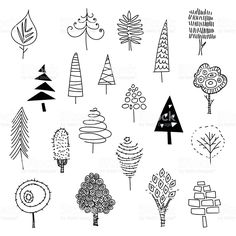 Hand drawn christmas trees royalty-free stock vector art