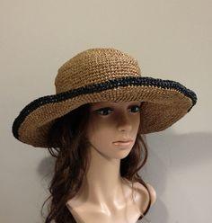crocheted hat no. H302 rayon raffia hat straw hat by auntieshirley, $48.00