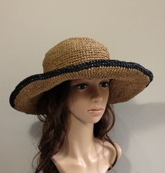 crocheted hat no. H302 rayon raffia hat straw hat by auntieshirley, $48.00