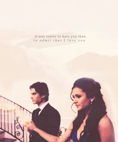 """The Vampire Diaries Damon & Elena """"It was easier to hate you than to admit that I love you"""" Vampire Diaries Memes, Vampire Diaries Damon, Vampire Diaries The Originals, Vampire Diaries Poster, Ian Somerhalder Vampire Diaries, Vampire Daries, Vampire Diaries Wallpaper, Delena, Damon Salvatore Quotes"""