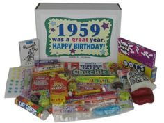 58th Birthday Basket Gift Box Of Nostalgic Retro Candy For A 58 Year Old Man Or