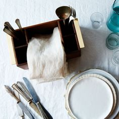Wooden & Brass Flatware Holder $225 food52.com