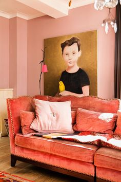 Combine different shades of pink like this pink velvet sofa with …