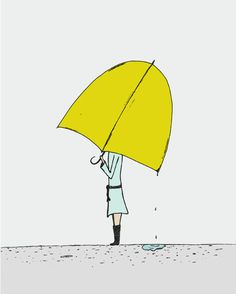 Umbrella Girl - Pen and Ink Illustration - Art Print Yellow Umbrella, Umbrella Girl, Under My Umbrella, Ink Illustrations, Illustration Art, Parasols, Singing In The Rain, Mellow Yellow, Oeuvre D'art