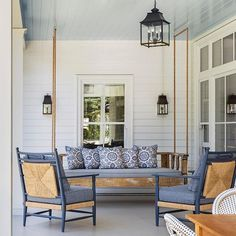 "Tim Barber Ltd. Architecture on Instagram: ""Earlier this month @real_simple featured our Tuscaloosa Residence in an article about blue porch ceilings. Many thanks for including our…"" Funky Painted Furniture, Painted Chairs, Modern Furniture, Furniture Design, Painted Tables, Rustic Industrial Decor, Rustic Decor, Blue Porch Ceiling, Country House Interior"