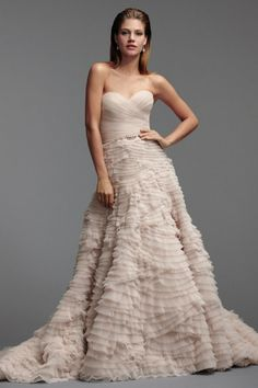 Watters Davia Gown style 5098b Tulle Sweetheart neckline Draped natural waist bodice Pleated A-line multi-layered ball gown Chapel Train