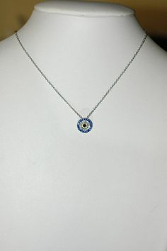 Evil Eye Charm Round crystal Evil Eye Necklace by stylelovers, $19.00