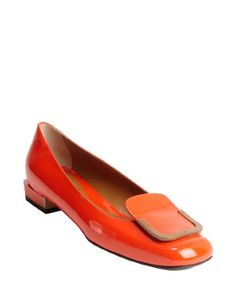 Fendi: red and sand patent leather buckle flats