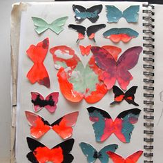 artstart: cut interesting silhouettes or shapes out of scrap paper/old paintings