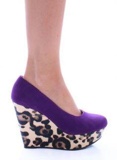 Purple Suede Heels with Leopard Print Platform