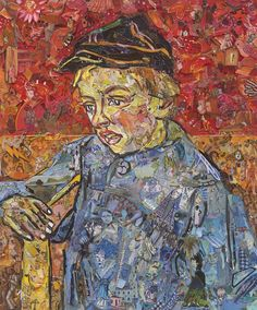"""Vik Muniz's 2016 collage in homage to MASP's 1888 Van Gogh oil, """"The Postman's Son,"""" at Galeria Nara Roesler at SP-Arte 12th edition."""