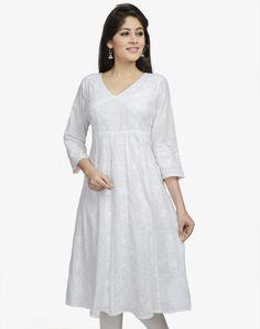 Cotton Cambric Anarkali Lucknavi Long Kurta