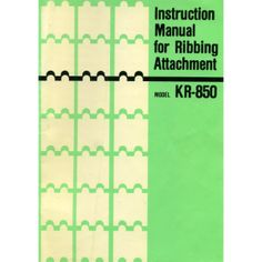 Link to download - Brother KR850 Ribber User Guide