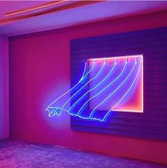 Neon artwork created with blue neon light tubing formed into a shape like a curtain blowing in the wind Vaporwave, Blue Neon Lights, Neon Light Art, Neon Artwork, Neon Licht, Retro Mode, Purple Aesthetic, Aesthetic Grunge, Wow Art