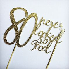 Gold 80th birthday Cake Topper 80 never by sprinkledwithpaper