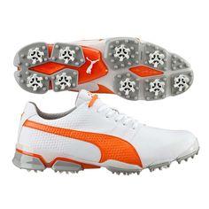 Puma TitanTour Ignite Golf Shoes White-Orange SS16 Golf Shoes d7f345a06