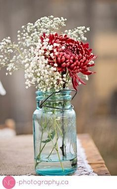 Image result for spider mum and baby breath mason jar Maybe with a different flower?
