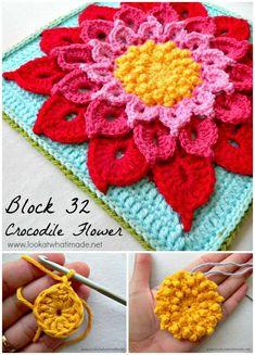 20 Free Crochet Patterns Using Crochet Crocodile Stitch Crochet The Crocodile Flower Pattern - 20 Free Crochet Patterns Using Crochet Crocodile Stitch - DIY & Crafts Crochet Crocodile Stitch, Stitch Crochet, Crochet Stitches Free, Granny Square Crochet Pattern, Crochet Squares, Crochet Blanket Patterns, Crochet Motif, Crochet Designs, Crochet Granny