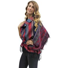 Burgundy Multicolor Native American Print Fringed Scarf Wrap ($23) ❤ liked on Polyvore featuring accessories, scarves, burgundy, heavy, patterned scarves, shawl scarves, fringe scarves, extra long scarves and woven scarves