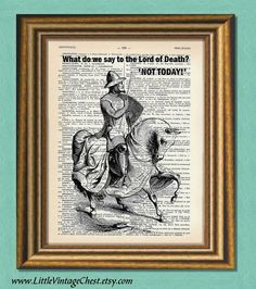 NOT TODAY   Game of Thrones  Dictionary art by littlevintagechest, $7.99